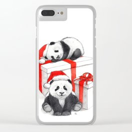 Christmas-Panda's babies g144 Clear iPhone Case