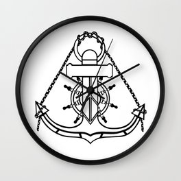 Anchor and Steering Helm [Outline] Wall Clock
