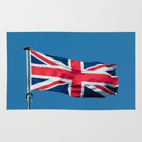 british flag Area & Throw Rugs featuring Flying the British flag by PICSL8