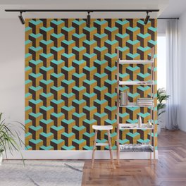 Aqua and Tan Geometric Marquetry Pattern Wall Mural