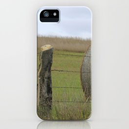 Kansas Hay Bale in a field with a fence iPhone Case