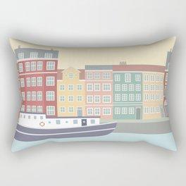 Nyhavn Illustration, Copenhagen, Denmark Rectangular Pillow