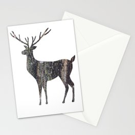 deer silhouette stag black bark with lichen Stationery Cards