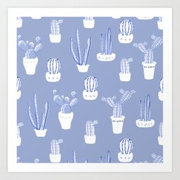 Elegant Blue Cacti in Pots Pattern Art Print