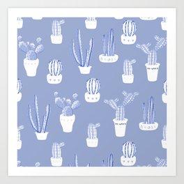 Elegant Blue Cacti in Pots Pattern Art Print