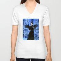 edgar allan poe V-neck T-shirts featuring Nevermore - Edgar Allan Poe by Danielle Tanimura
