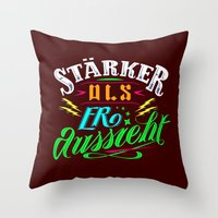 sansa stark Throw Pillows featuring Stark! by VQ-Art