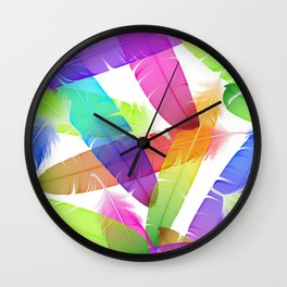 Colorful seamless feather vector pattern Wall Clock