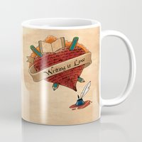 writing Mugs featuring Writing is Love by gunberk