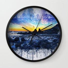 Ocean Sunset Painting Wall Clock