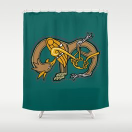Celtic Medieval Griffin Letter M 201 Shower Curtain