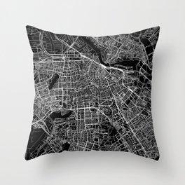 Amsterdam Black Map Throw Pillow