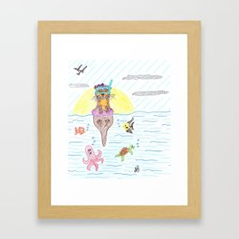 Otter at the sea Framed Art Print