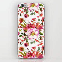 Blush pink orange green watercolor modern roses berries iPhone Skin