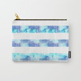 Blue & Purple Watercolor Stripes Carry-All Pouch