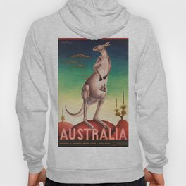 Australian Vintage Travel Poster with Kangaroo and Baby Joey Roo, Circa 1957 Hoody