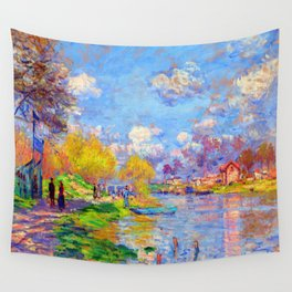 Claude Monet Spring on the Seine Wall Tapestry