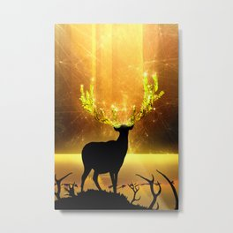 Greenery Deer - Golden Sun Metal Print