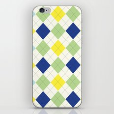Argyle Plaid in Blue, Green and Yellow iPhone & iPod Skin