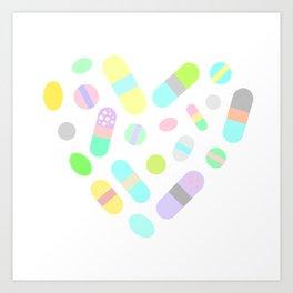 Drugs N Pills Love Your Little Heart Art Print