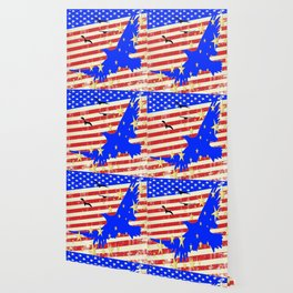 JULY 4TH PATRIOTIC BLUE EAGLE & STARS Wallpaper