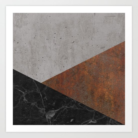 Concrete, rusted iron, marble abstract Art Print