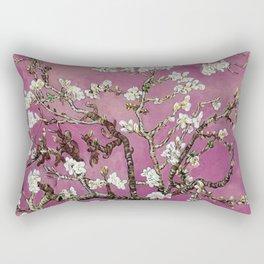 Vincent van Gogh Blossoming Almond Tree (Almond Blossoms) Fuchsia Sky Rectangular Pillow