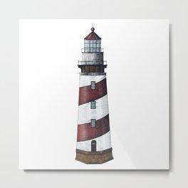 Nautical Red Light House Metal Print