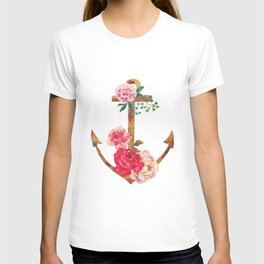 floral rusted anchor T-shirt