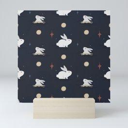 Bunnies on the Moon (Patterns Please) Mini Art Print
