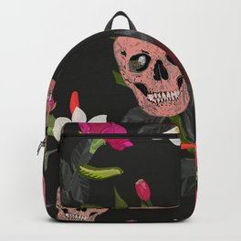 Skull and Roses, Vanilla, Cosmos Flower. Floral Colorful Bouquet Pattern Backpack