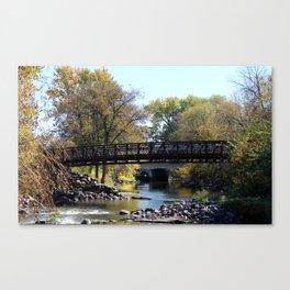 Bridge Over Calm River Photo Canvas Print