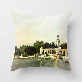 The Lake at Buen Retiro Park Throw Pillow