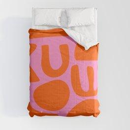 Orange Shapes on Pink Comforters