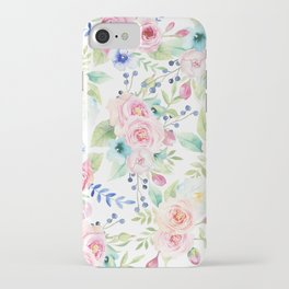 Blush pink watercolor elegant roses floral iPhone Case