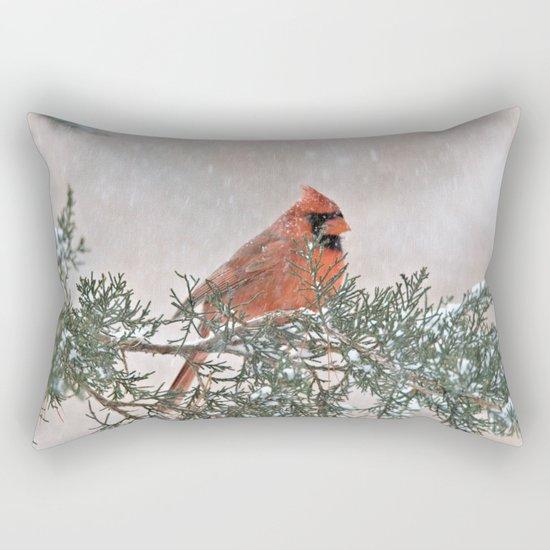 Snowfall Cardinal Rectangular Pillow