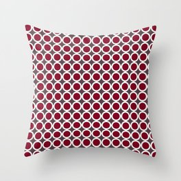 Dark red, taupe and white small circles pattern Throw Pillow