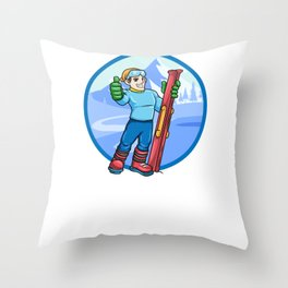 Skiing Skier Apres Ski Throw Pillow