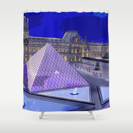 Louvre at Night Shower Curtain