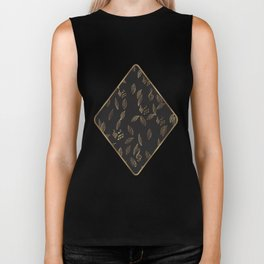 Abstract Gold and Black Musical Fall Leaves Biker Tank