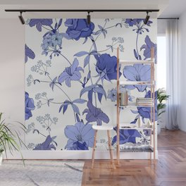 Blue flowers on white background Wall Mural