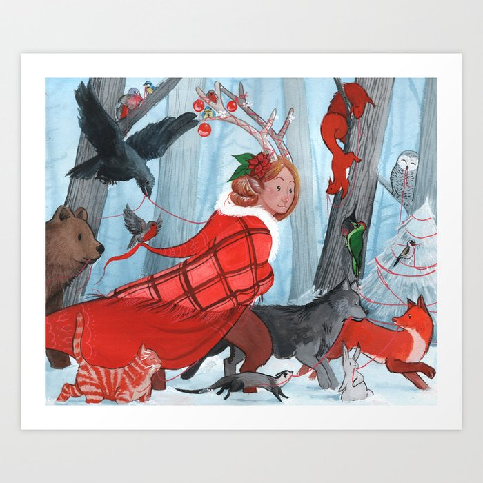 Winter stroll with the furry friends Art Print