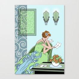 CLARICE: Art Deco Lady - Girly Greens Canvas Print