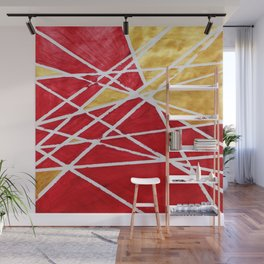 Golden Red Abstract Geometric Art (#1) Wall Mural