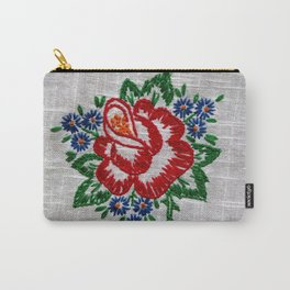 Red Rose Embroidery Carry-All Pouch