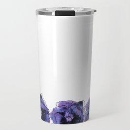 Purple Pansy Pattern Travel Mug