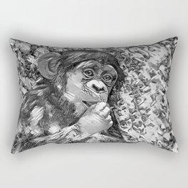 AnimalArtBW_Chimpanzee_20170605_by_JAMColorsSpecial Rectangular Pillow