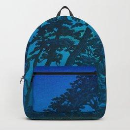 Vintage Japanese Woodblock Print Kawase Hasui Haunting Tree Silhouette At Night Moonlight Backpack