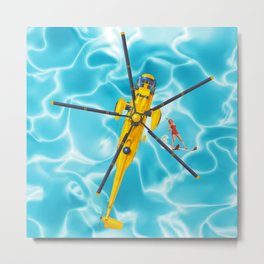 westland yellow helicopter w-surfer Metal Print
