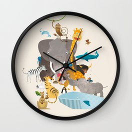 Kids Room Animals – Illustration for the sleeping room of girls and boys Wall Clock